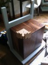 Wedged Walnut Cabinet, Heirloom Furniture Build: Fear & Loathing with a Drill Bit, Jig Resting on Corner